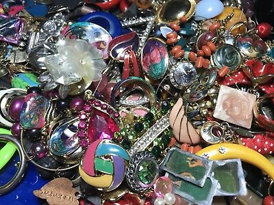 LARGE VINTAGE TO NOW 3 LBS Single Earring Lot Rhinestone Enamel Clip On Signed