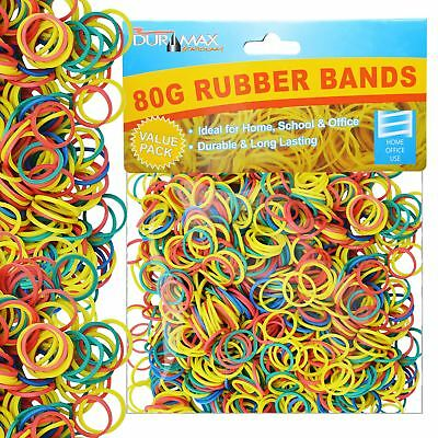 1200 pcs Strong Elastic Rubber Bands Assorted Colour for Home School Office 80g