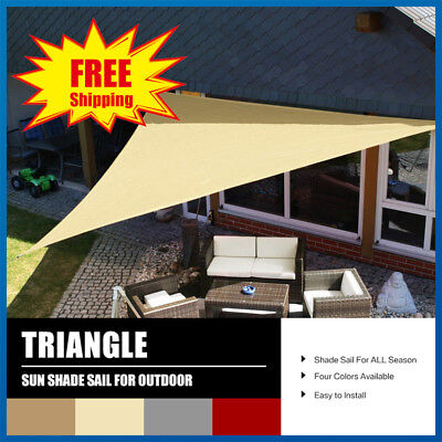 Sun Shade Sail Garden Patio Canopy Awning 98% UV Block Triangle With Free Ropes