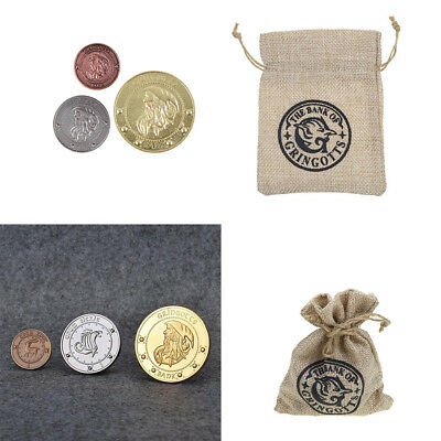 Harry Potter Gringotts Bank 3pcs Galleon Sickel Knut Coin Collection Magic Bag