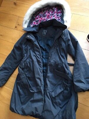 Girls Blue Winter Matalan Zip Coat With Hood Age 12-13 Yrs.