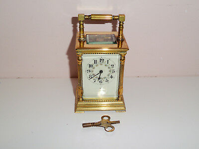 Antique French Five Panel Carriage Clock Enamel Dial Painted Flowers Working