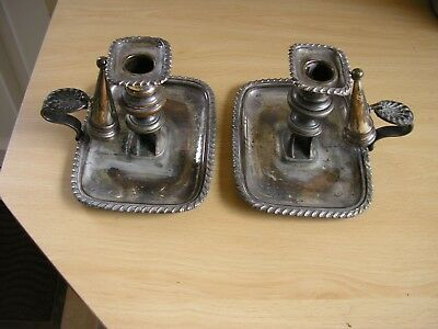 Pair Of Antique Silver Plated {On Copper ] Chambersticks