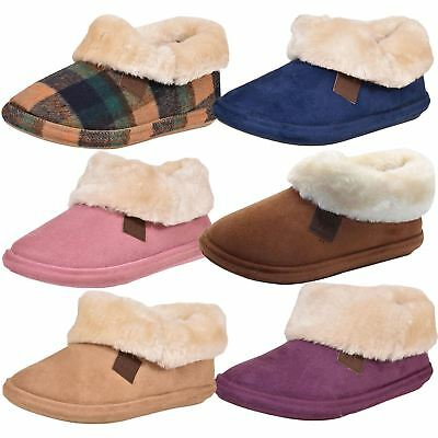 Womens Slippers Suede Style Warm Winter Mules Faux Fur Lined Indoor Boots