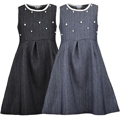 Girls Denim Dress Teenagers Skater Cotton Zip Pearl Piping Details Top 3-14 Y