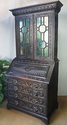 Profusely Carved Oak Gothic Green Man Antique Victorian Bureau Bookcase Desk
