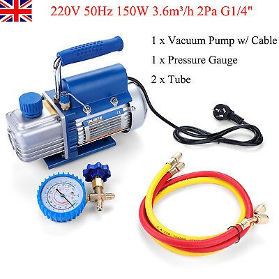"220V 150W 2Pa 3.6m³/h Vacuum Pump Set For Air Conditioning/Refrigerator G1/4"" UK"