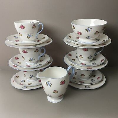 Job Lot Shelley 2512 Ditsy Floral Roses Cup Saucer Trio 19 Piece Teaset