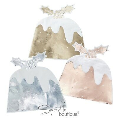 METALLIC CHRISTMAS PUDDING SHAPED NAPKINS - Luxury Xmas Dinner Table Decoration