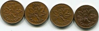 Misc Canada cents 1971-1976-1978-1979 in average condition