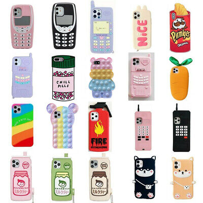 3D Cartoon Soft Silicone Rubber Case Cover For iPhone 5 6 7 8 X XS XR Touch 6 5