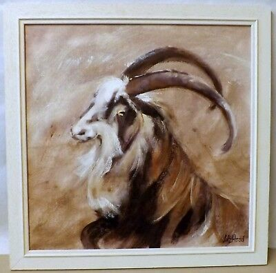"""Liz Hood Original Oil on Board, """"Billy"""" Framed Picture of a Gorgeous Goat"""