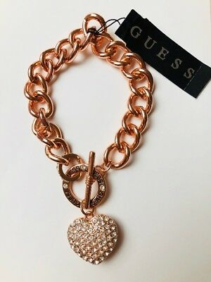 Guess Schmuck Armband Armkette Beauty bracelet Strass Herz Rose' Gold Neu