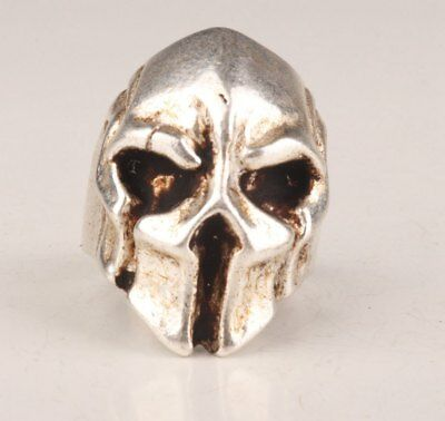 Tibetan Silver hand-carved rare old skull Statue Ring collection Gift