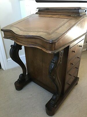 Antique Walnut Davenport Writing Desk / Writing Desk With Leather Top And Drawer