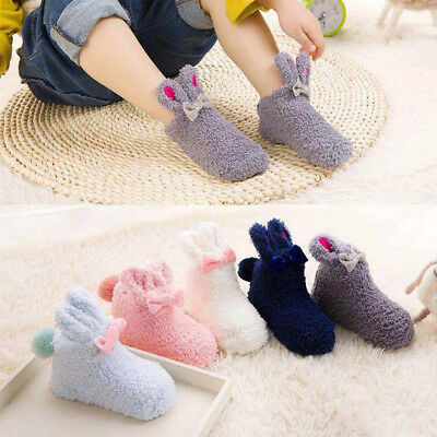 Cute Toddler Rabbit Coral Velvet Long Ear Thick Non-Slip Socks Baby 0-3 Age