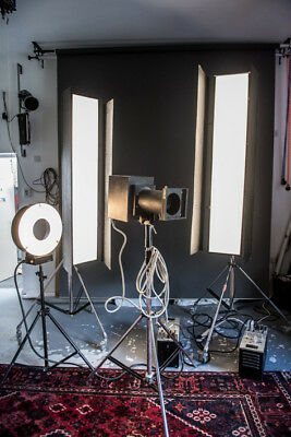 photography studio lighting kit. Ring flash, strip lights and spot.