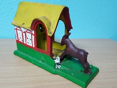 Vintage Mechanical Kicking Donkey Mule Cast Iron Bank - TAIWAN