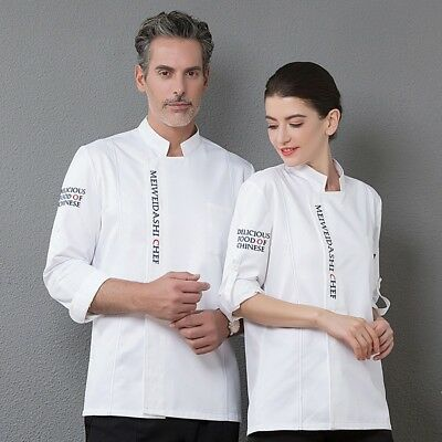 Unisex Chef Coat Fashion Long Sleeve Hotel Waiter Uniform Working Clothes Outfit