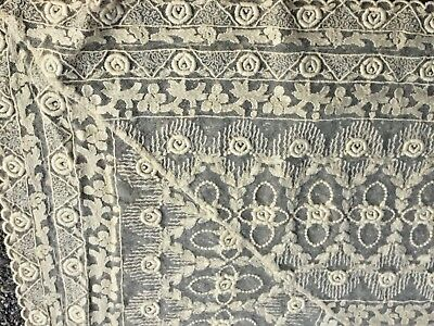 Antique bed cover believe it Brussels lace? 78 x 80 great condition.