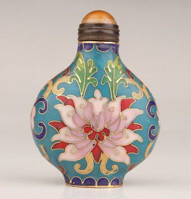 Old Chinese Antique Unique Hand-Carved Cloisonne Snuff Bottle Flower Collection
