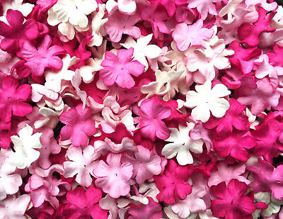 50 Pcs. Flowers Mulberry Paper Mixed Pink Tone & White Color for Craft & D.I.Y