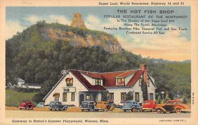 Winona Minnesota The Hot Fish Shop Exterior Linen Antique Postcard J78170