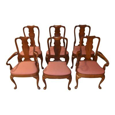 Vintage Solid Mahogany Shaped Queen Anne Dining Chairs