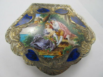 800 Silver Courting Couple Ladies Compact Enamel Finely Tooled Good Cond
