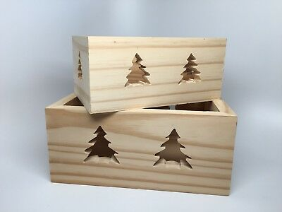2 Unfinished Wood NESTED BOXES - PINE TREE Cutouts
