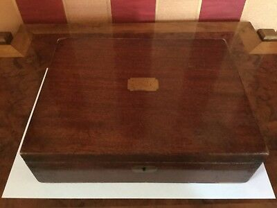 Antique Mahogany Collectors Specimens Trinket Box with brass inlay and two trays