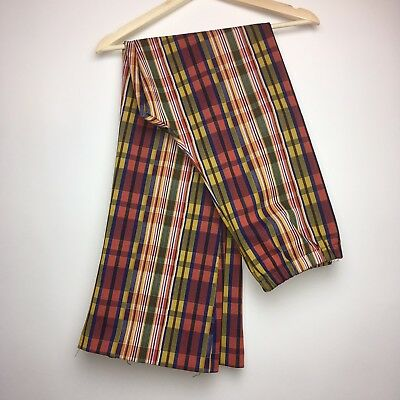 Vtg Mustard Yellow Red Green Plaid Pull On Polyester Double Knit Pants sz 18