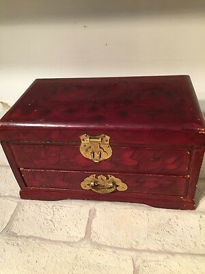 Vintage Wood Wooden Jewellery  Box Retro Decorative Brass Hinges