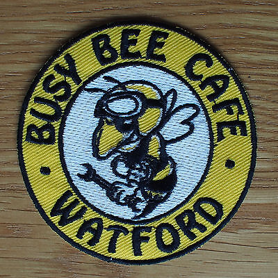 Motorcycle Biker Jacket Cafe Racer Rocker Ton Up Cloth Patch Badge BUSY BEE CAFE