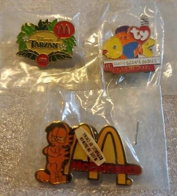 Lot of 3 Mixed McDonald's 1980's to 1990's Collectible Lapel Pins(J)