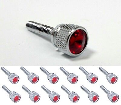 (Set/12) Dash Panel Long Screws for Kenworth, Red Jewel Chrome KW 2001 & Earlier