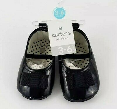 Carters Crib Shoes 3-6 Month Size 2 Black Imitation Leather New Girls Bow Bootie