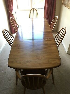 Vintage 1960's ERCOL 444 Grand Windsor Extending DINING TABLE & 6 QUAKER CHAIRS