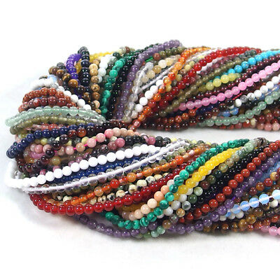 """2mm 3mm round natural gemstone spacer seed beads strand 15.5"""" jewelry making DIY"""