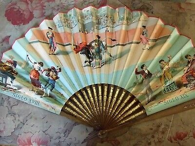Large Antique 19th Century Spanish Fan Signed M. Albiach Ayoldi - Valencia