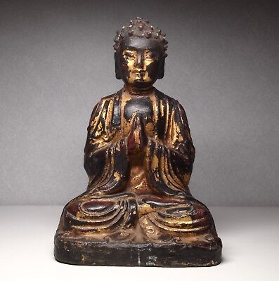Antique Old Buddha Carved Wood Paint
