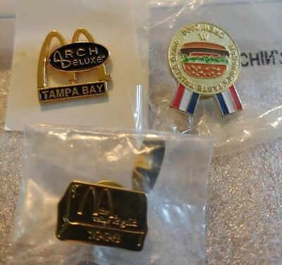 Lot of 3 Mixed McDonald's 1980's to 1990's Collectible Lapel Pins(M)