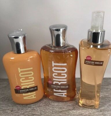 Bath & Body Works SIGNATURE VANILLAS APRICOT lotion shower gel wash mist set lot