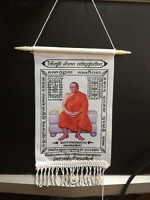 Thai Old Amulet Yantra cloth  LP LING DUM Very powerful Defend the ghost Evil