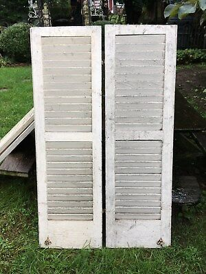 Vtg  Pair Architectural Salvage  Louvered Shutters clothing screen wedding 47x14