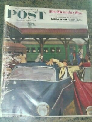 """saturday Evening Post March 1960 ....vintage  Iconic News  Current Affairs Mag"