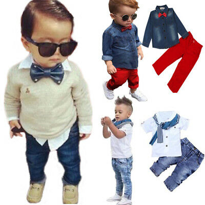 Kinder Baby Jungen Gentleman Shirt Top Denim Jeans Hosen Outfits Set Party Anzug