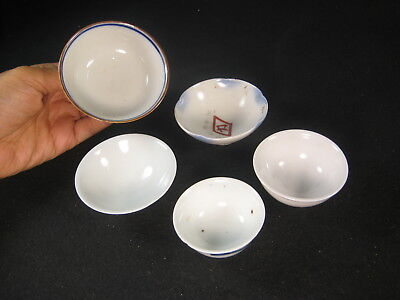 Japanese Group Of 5 Vintage And Antique Ceramic Sake Cups
