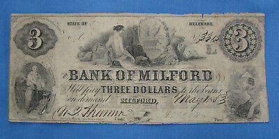*scarce 1853 $3.00 Bank Of Milford Delaware Obsolete Currency - Estate Fresh*