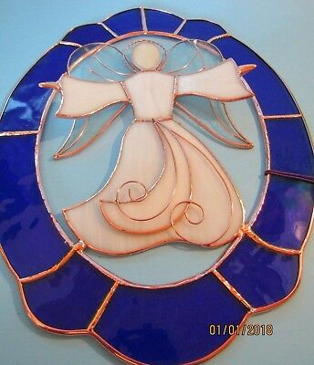 """Vintage-GALLERY ART STAINED GLASS ANGEL 3D Tiffany-Blue-Clear-Copper 14"""" x 11"""""""